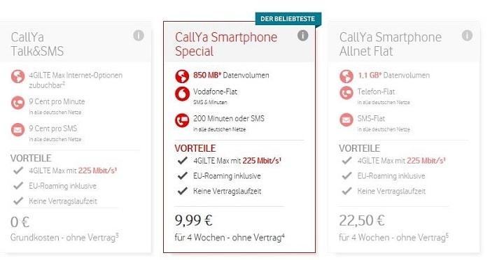 Vodafone CallYa Tarife: Talk&SMS, Smartphone Special, Smartphone Allnet Flat