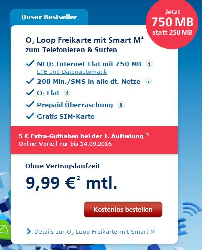 o2 Loop Freikarte mit Smart M
