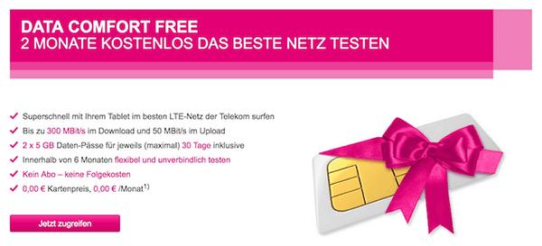 Telekom Data Comfort Free - Kostenlose SIM-Karte