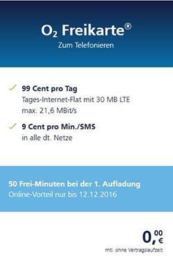 o2 Freikarten Angebot im Dezember 2016 - Gratis SIM-Karte